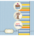 birthday greeting card with a cat waiting to eat a vector image
