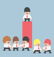 Businessman standing alone at the top of graph vector image vector image