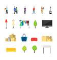 cartoon garage sale concept icon set vector image vector image