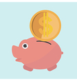 cartoon piggy bank in flat design vector image