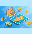 chad isometric financial economy condition concept vector image vector image