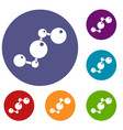 chemical and physical molecules icons set vector image vector image