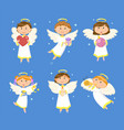 christmas angels valentines day cupids children vector image vector image