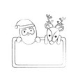 christmas santa claus and reindeer card empty vector image vector image