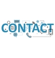 Contact concept flat line design with icons and vector image vector image