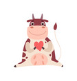 cute smiling cow sitting and holding red heart vector image vector image