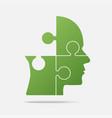 design green puzzle piece head - jigsaw vector image vector image