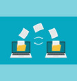file transfer two laptops with folders on screen vector image vector image
