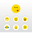 flat icon face set of angel sad joy and other vector image vector image