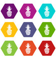 fresh exotic juice icons set 9 vector image