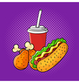 hand drawn pop art of chicken legs soda cup and vector image vector image