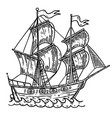 hand drawn sea ship on white background design vector image
