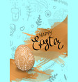 happy easter lettering handdrown background with vector image vector image