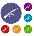 kalashnikov machine icons set vector image vector image