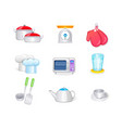 kitchen icon set collection 3d icon vector image vector image