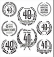 laurel wreaths anniversary collection 40 years vector image vector image