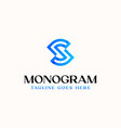 letter s monogram logo template in isolated white vector image