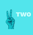 male hand hand shows number two modern design vector image
