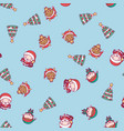merry christmas cute kawaii character pattern vector image vector image