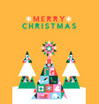merry christmas geometric folk icon pine tree card vector image