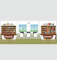 modern library interior with bookshelves vector image