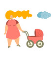 mother with baby carriage mom vector image vector image