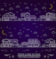 Neighborhood with homes on purple background vector image