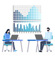 people analyzing financial growth and statistics vector image vector image