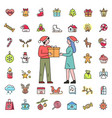 people exchanging gifts and christmas icons set vector image vector image