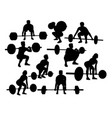 power lifters exercising silhouettes vector image
