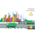 Recycling truck at work in city vector image