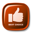 red best choice button vector image vector image