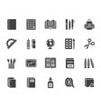 school supplies flat glyph icons set study tools vector image