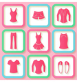 Set of 9 pink icons of female clothing vector image