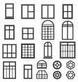 set of black window icons vector image