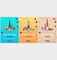 set of christmas travel posters to america europe vector image