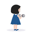 small girl lifting dumbell vector image vector image