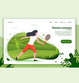 sporty girl playing tennis vector image vector image