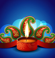 stylish diwali diya vector image vector image