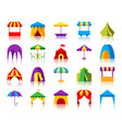 tent simple flat color icons set vector image vector image