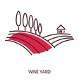 wine yard promotional emblem with wide fields and vector image vector image
