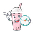 with clock raspberry bubble tea character cartoon vector image vector image