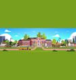 yellow bus in front of school building yard pupils vector image vector image