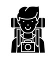 traveller - active tourist with camera and vector image