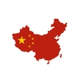 Map of China with national flag icon flat style vector image