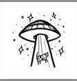 aliens kidnapping a cow tightening her inside ufo vector image