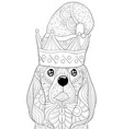 adult coloring bookpage a cute dog with christmas vector image vector image