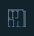 apartment plan concept linear blue icon vector image vector image