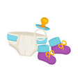badiapers knitted booties and small pacifier vector image
