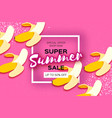 banana super summer sale banner in paper cut style vector image vector image